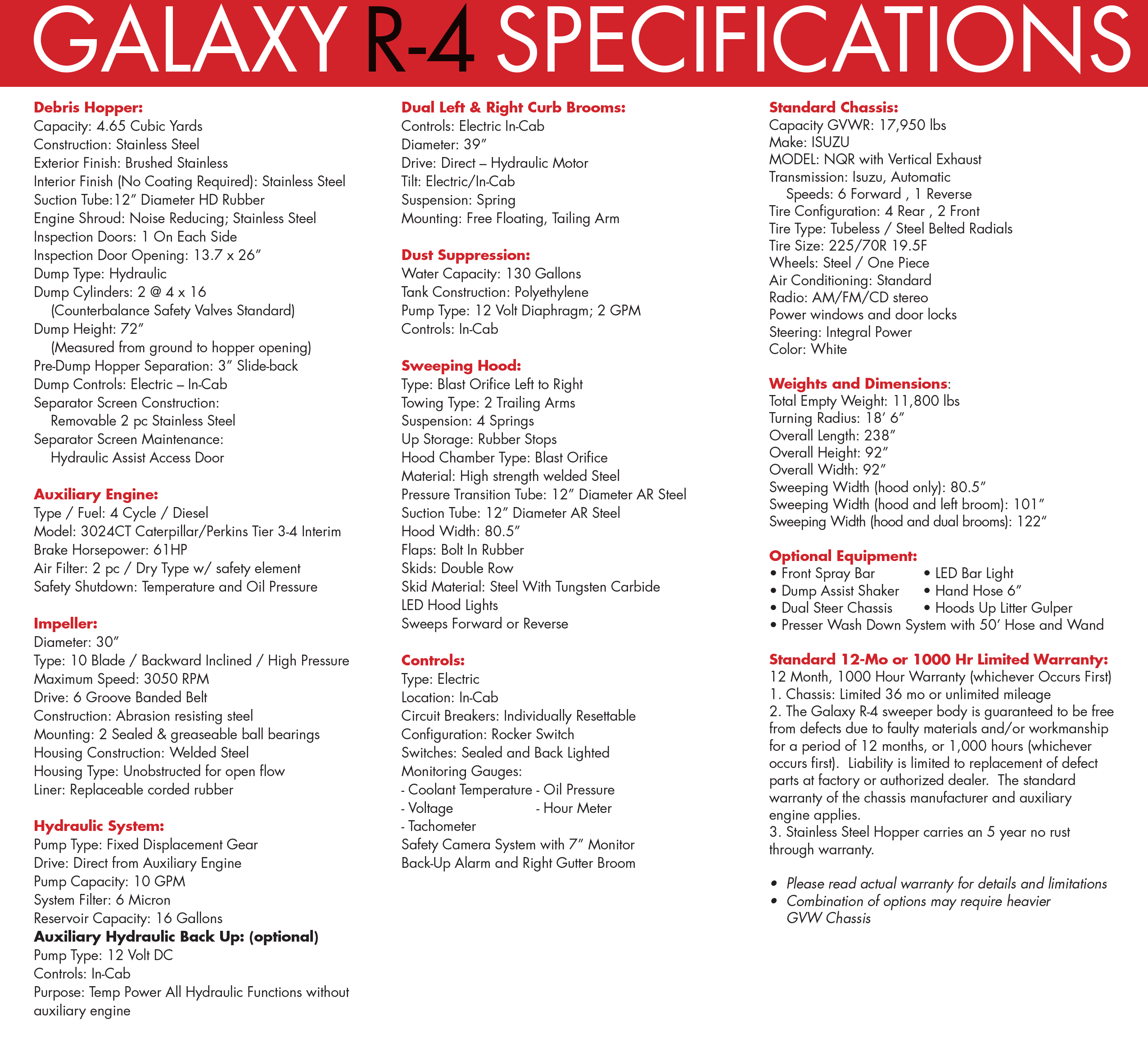 Galaxy R-4 Street Sweeper Specifications