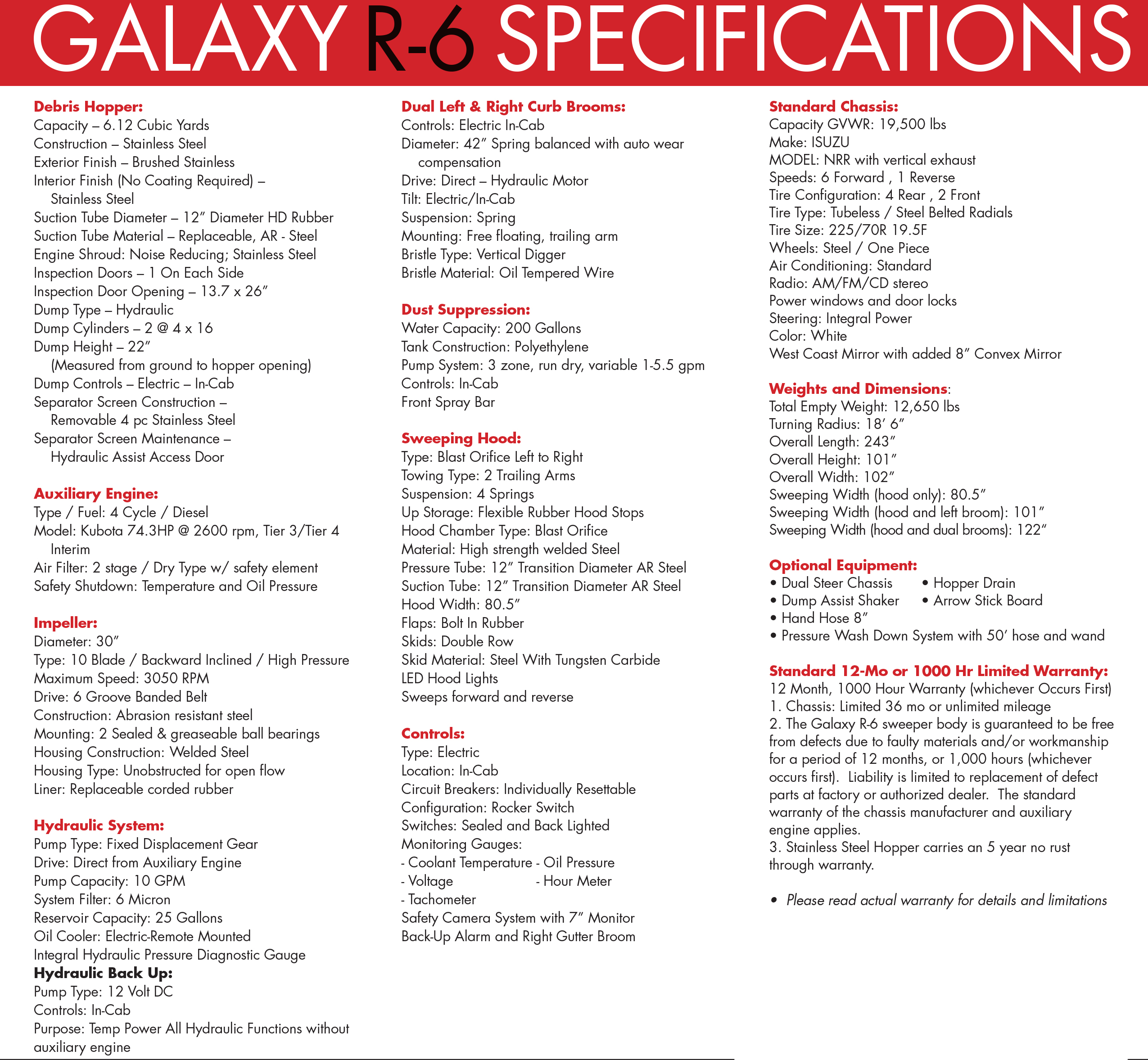 Galaxy R-6 Street Sweeper Specifications